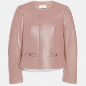 Coach 1941 tailored leather jacket pink